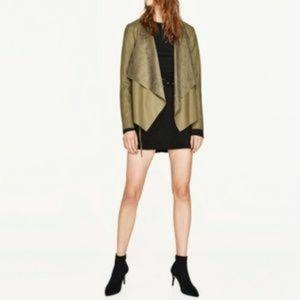 Zara Woman Olive Drape Zipper Faux Suede Jacket L